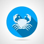 picture of blue crab  - Flat round blue vector icon with white silhouette crab on gray background - JPG