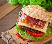 stock photo of tomato sandwich  - Big sandwich  - JPG