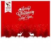 image of snow-slide  - Merry Christmas Landscape with Deers on the snow - JPG