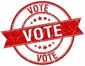 picture of voting  - vote grunge retro red isolated ribbon stamp - JPG