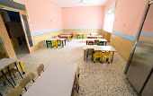 stock photo of canteen  - chairs and tables in the room of a canteen refectory of kindergarten - JPG