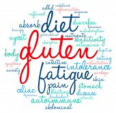 stock photo of gastrointestinal  - Gluten circle shaped word cloud on a white background - JPG