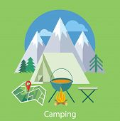 image of boot camp  - The Camping tent near the fire and mountains in the background with trees - JPG