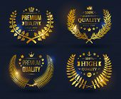 pic of crown  - Vector quality emblems with laurel wreath - JPG
