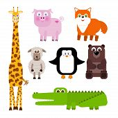picture of cute animal face  - Set of cute cartoon animals  - JPG