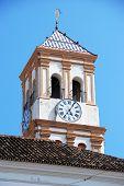 stock photo of church  - Iglesia de la Encarnacion Church bell and clock tower in Church Square  - JPG