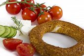 pic of bagel  - Mediterranean breakfast bagel with cheese tomatoe and cucumber simit isolated on white background - JPG