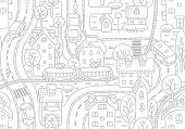 pic of tree house  - Seamless vector background pattern with streets - JPG