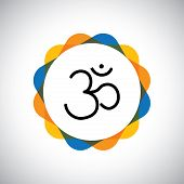 foto of peace  - aum or om hinduism vector icon for world peace - JPG