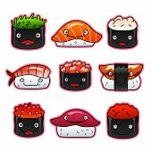 pic of sushi  - Collection of nine cartoon sushi - JPG