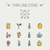 pic of hot coffee  - Food and drink thin line icon set for web and mobile - JPG
