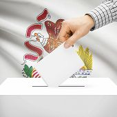 image of illinois  - Ballot box with US state flag on background series  - JPG