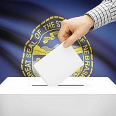 picture of nebraska  - Ballot box with US state flag on background series  - JPG
