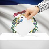 picture of virginia  - Ballot box with US state flag on background series  - JPG