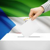 stock photo of guinea  - Ballot box with national flag on background series  - JPG