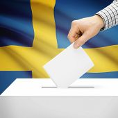 pic of sweden flag  - Ballot box with national flag on background series  - JPG