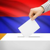 stock photo of armenia  - Ballot box with national flag on background series  - JPG