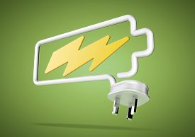 stock photo of solar battery  - Electricity cable and plug bends to make the shape of a battery icon with an electrical lightening bolt - JPG