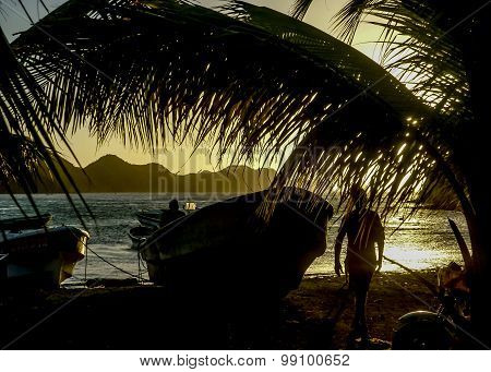 Sunset At The Caribbean Bay Of Taganga In Colombia