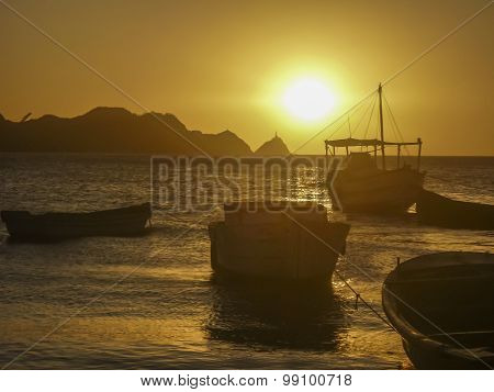 Boats At The Sunset In Taganga Bay Colombia