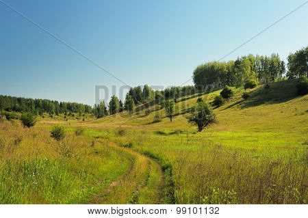 Quiet Green Summer Hill Slope With Trees, Road And Blue Sky