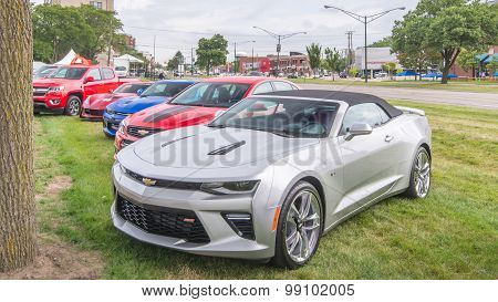 Chevrolet Camaros and Corvette, Woodward Dream Cruise, MI