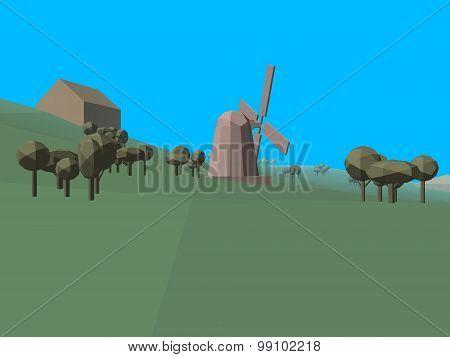 Low Poly Retro Style Landscape