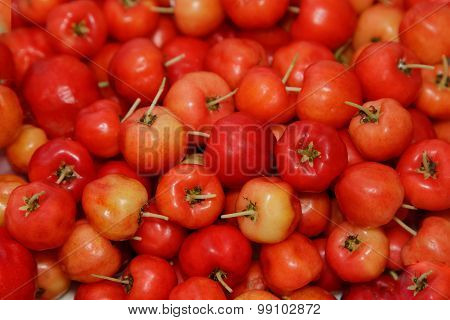 Barbados Cherry (malpighia Glabra L.) ,fresh Fruit Background