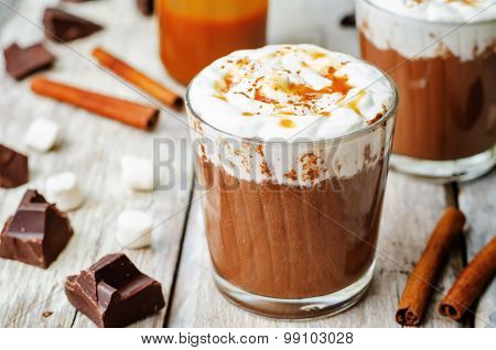 Hot Dark Chocolate With Whipped Cream, Cinnamon And Salted Caramel