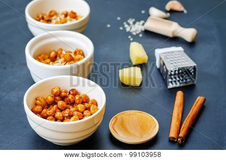 Roasted Chickpeas In Different Flavors
