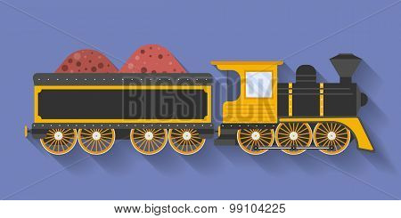 Icon Of Steam Locomotive Or Puffer With The Wagon. Flat Style