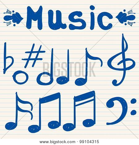 Set of hand drawn, sketched, doodled music notes and signs