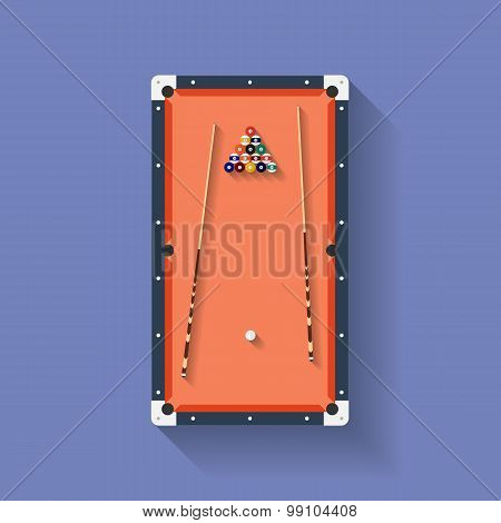 Icon of poll or billiard table with cues and balls. Flat style