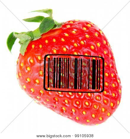 Sweet strawberry with barcode isolated on white