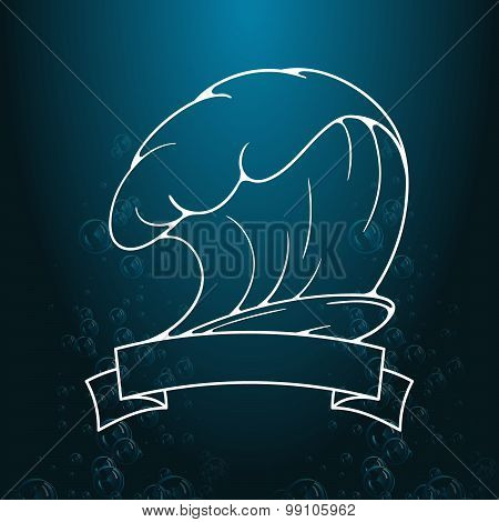 Surfing illustration and emblem. Stylized image of surfboard, waves, ribbons in vintage style.  Illu