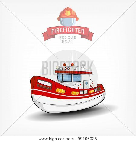 Vector illustration of a isolated firefighter  boat. Side view.