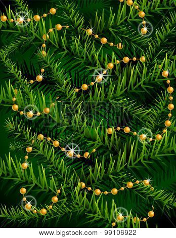 Christmas Tree Branches And Decorative Beads