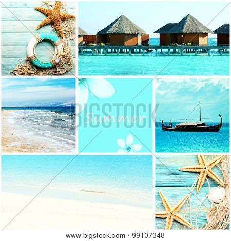 Collage with beautiful sea