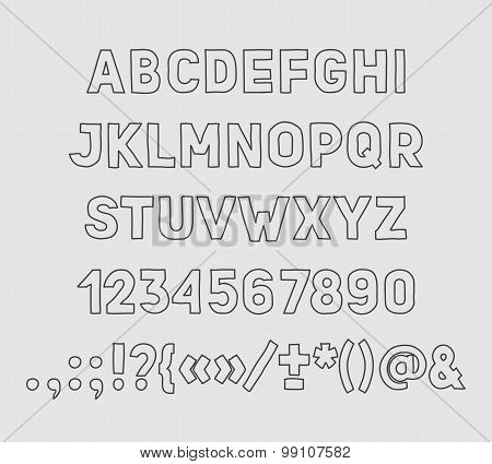 Hand drawin Handmade vintage alphabet handwritting abc vector font. Type letters, numbers and punctu