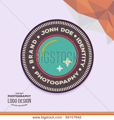 Photography Hipster Badge and Label in Vintage Style. Wedding photographer lens logo.