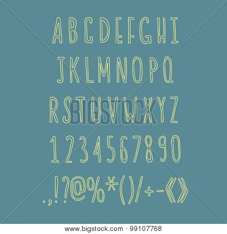 Hand drawin alphabet handwritting abc vector linear font. Type letters, numbers and punctuation mark