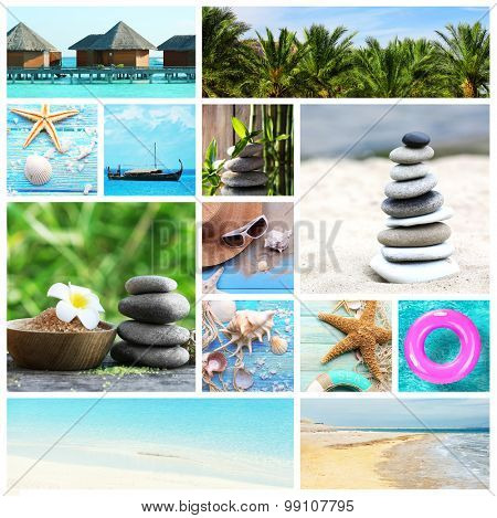 Collage with spa compositions