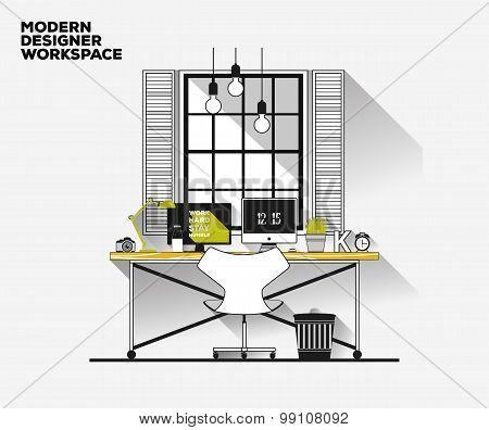 Thin line flat design. Modern designer workplace. Vector loft interior. Desk concept.Creative office