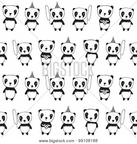 Seamless pattern with panda.