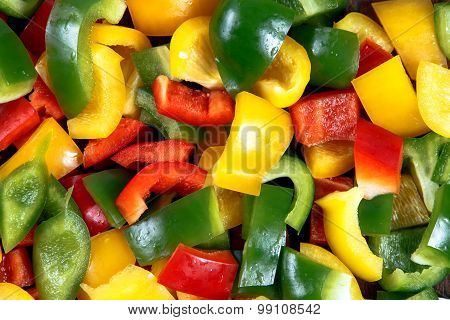 Fresh vegetables Three sweet Red, Yellow, Green mix sliced  Peppers isolated on white background.