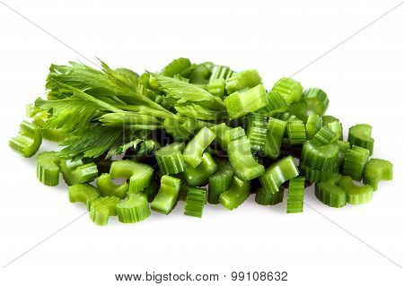 Celery Sliced on small pieces isolated on white background