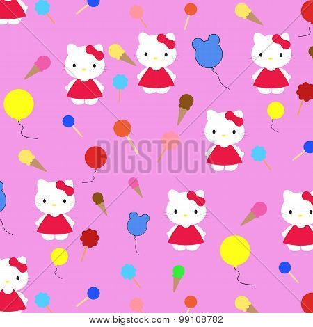 children's pattern cat, icicles, beads on a pink background illustrator