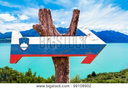 Slovenia Flag wooden sign with lake background