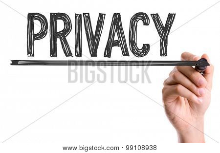 Hand with marker writing the word Privacy