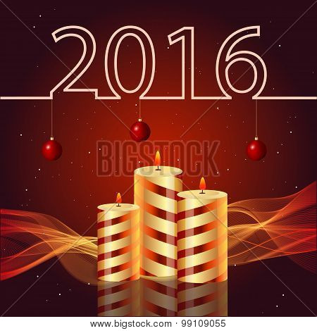 New year 2016 illustration on red background candles Christmas toys
